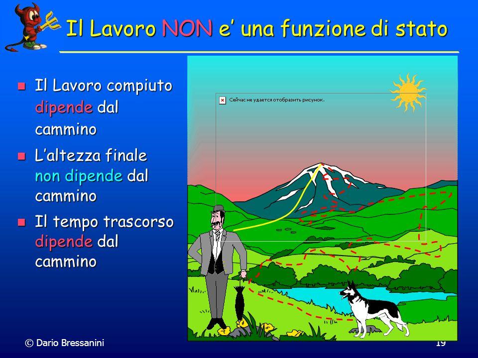 © Dario Bressanini19 Il Lavoro NON e una funzione di stato Il Lavoro compiuto dipende dal cammino Il Lavoro compiuto dipende dal cammino Laltezza fina