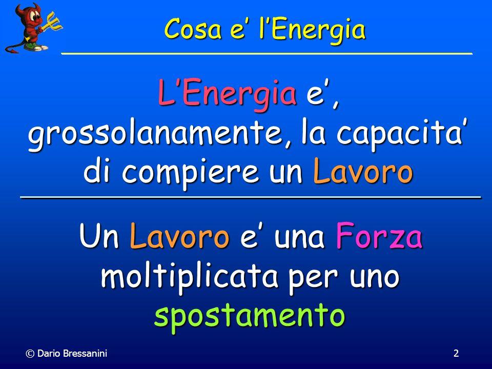© Dario Bressanini Consideriamo una espansione isoterma irreversibile di una mole di gas ideale da 3.00 atm a 2.00 atm a 300 K contro una pressione costante di 1.00 atm: 1.00 atm 3.00 atm 2.00 atm Gas ideale 1.00 mole 300 K irreversibile termostatato a 300 K Il Lavoro fatto dal gas è w = - P ext [ V 2 - V 1 ] Calcoliamo il volume dallequazione di stato dei gas ideali w = - P ext [ nRT/P 2 - nRT/P 1 ] = - n R T P ext [1/P 2 - 1/P 1 ] = - (1.00 mole)(8.314 J/mole K)(300 K)[1/2.0 atm - 1/3.0 atm] = - 416 J Espansione Isoterma Irreversibile Il Lavoro fatto dal gas è w = - P ext [ V 2 - V 1 ]