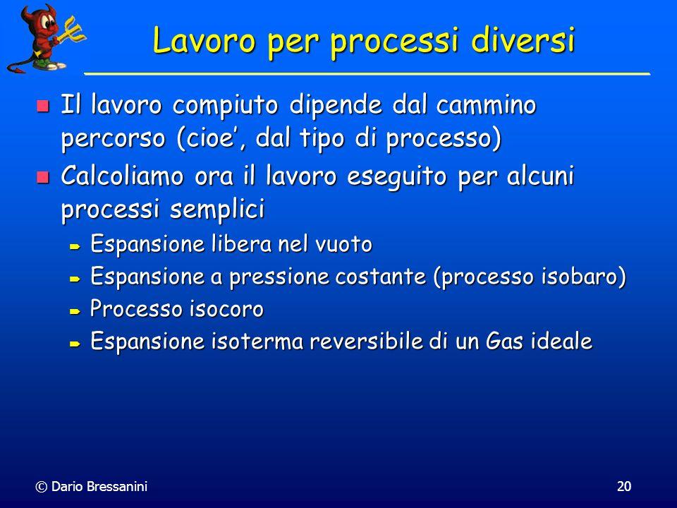 © Dario Bressanini20 Lavoro per processi diversi Il lavoro compiuto dipende dal cammino percorso (cioe, dal tipo di processo) Il lavoro compiuto dipen