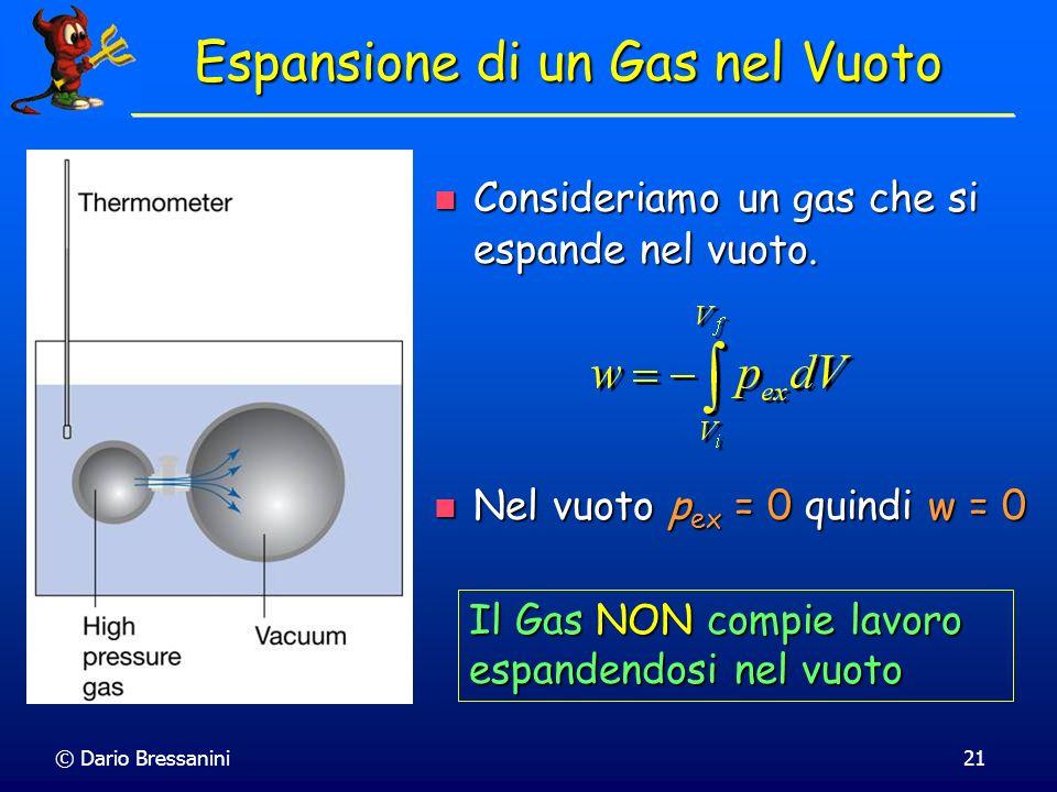 © Dario Bressanini21 Espansione di un Gas nel Vuoto Consideriamo un gas che si espande nel vuoto. Consideriamo un gas che si espande nel vuoto. Nel vu