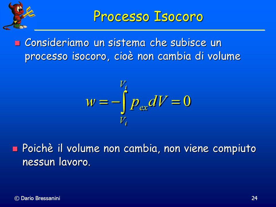 © Dario Bressanini24 Processo Isocoro Consideriamo un sistema che subisce un processo isocoro, cioè non cambia di volume Consideriamo un sistema che s