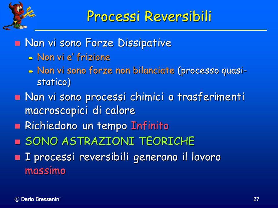 © Dario Bressanini27 Processi Reversibili Non vi sono Forze Dissipative Non vi sono Forze Dissipative Non vi e frizione Non vi e frizione Non vi sono