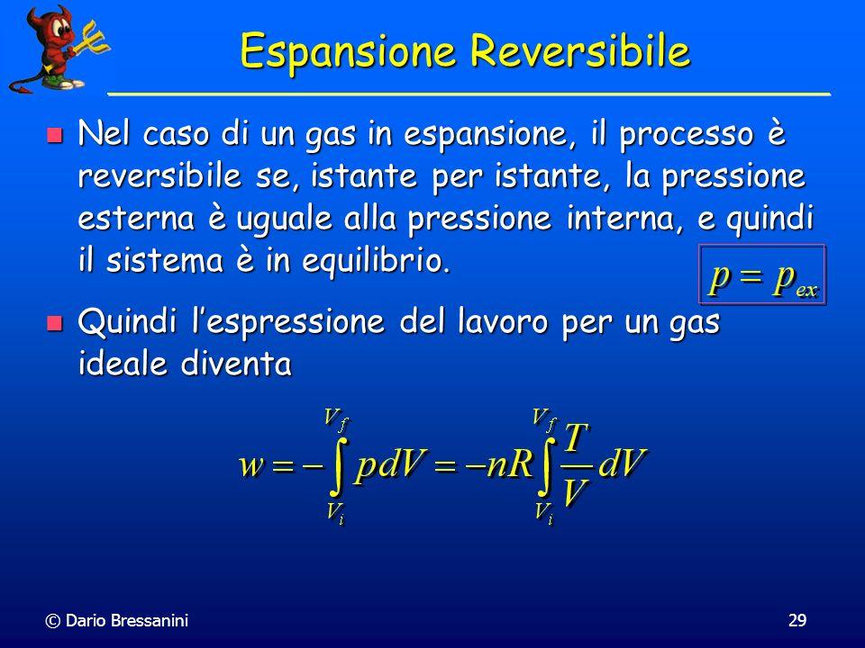 © Dario Bressanini29 Espansione Reversibile Nel caso di un gas in espansione, il processo è reversibile se, istante per istante, la pressione esterna