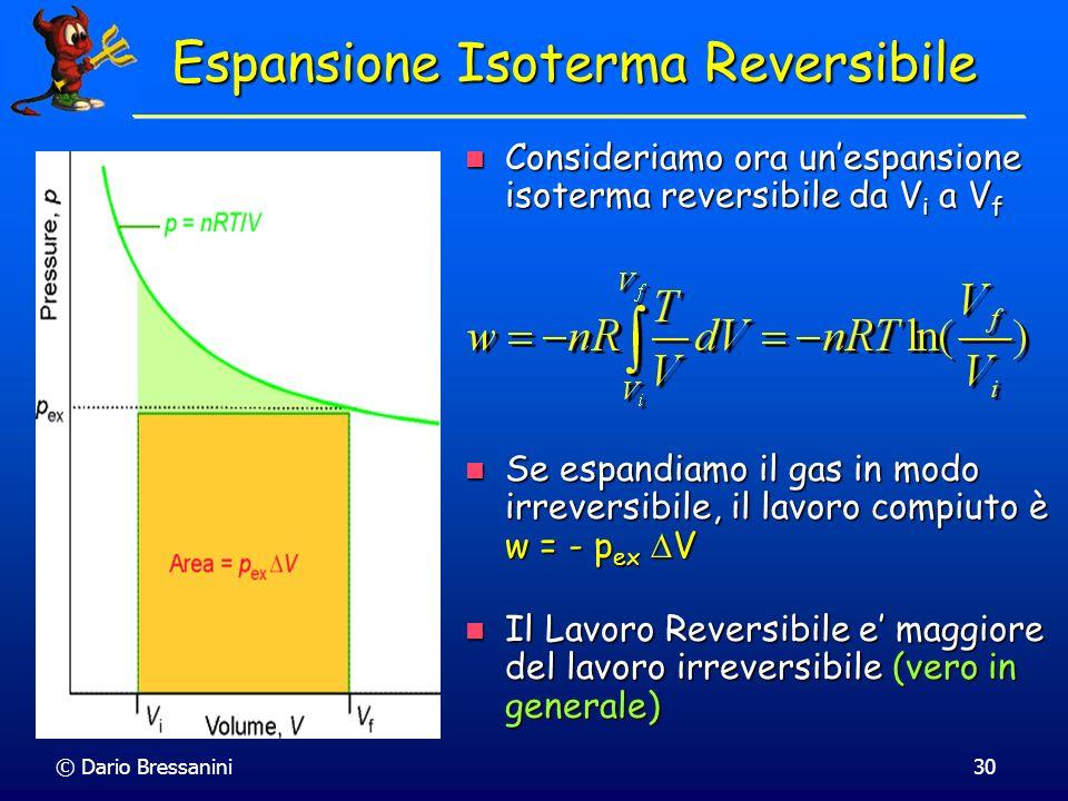 © Dario Bressanini30 Consideriamo ora unespansione isoterma reversibile da V i a V f Consideriamo ora unespansione isoterma reversibile da V i a V f E