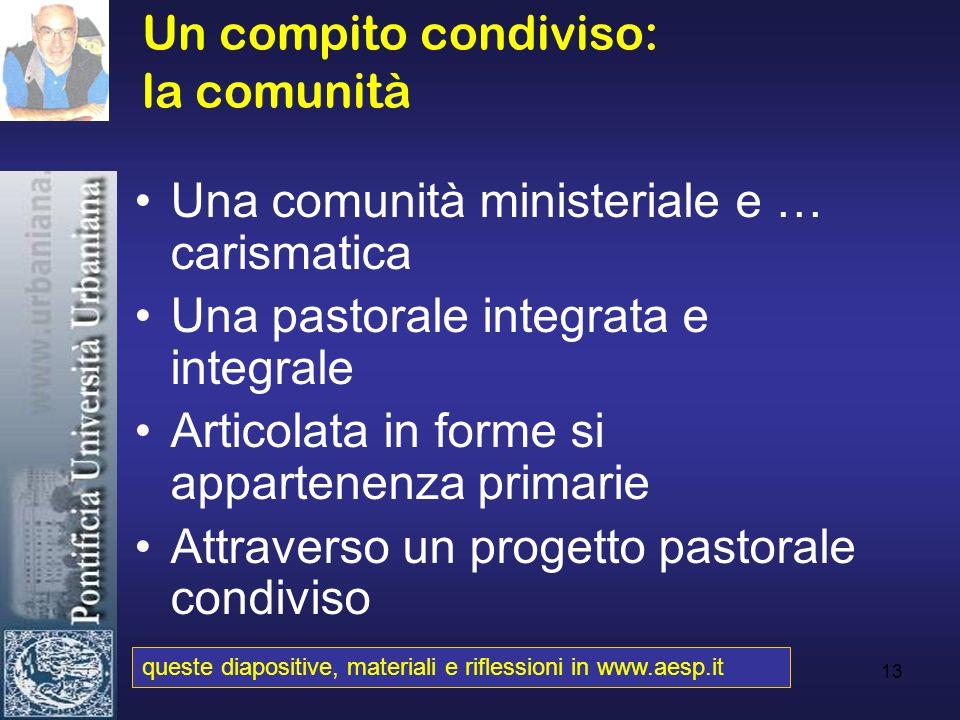 13 Un compito condiviso: la comunità Una comunità ministeriale e … carismatica Una pastorale integrata e integrale Articolata in forme si appartenenza