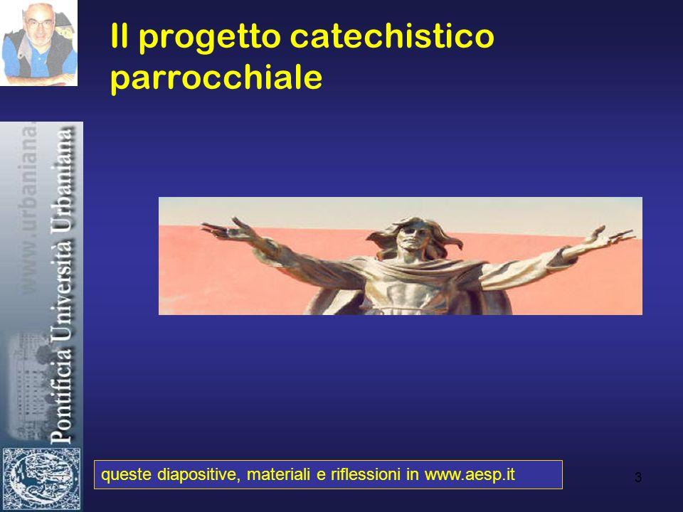 3 Il progetto catechistico parrocchiale queste diapositive, materiali e riflessioni in www.aesp.it