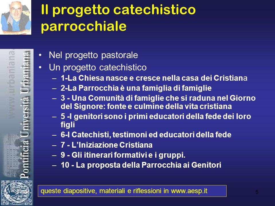 5 Il progetto catechistico parrocchiale Nel progetto pastorale Un progetto catechistico –1-La Chiesa nasce e cresce nella casa dei Cristiana –2-La Par