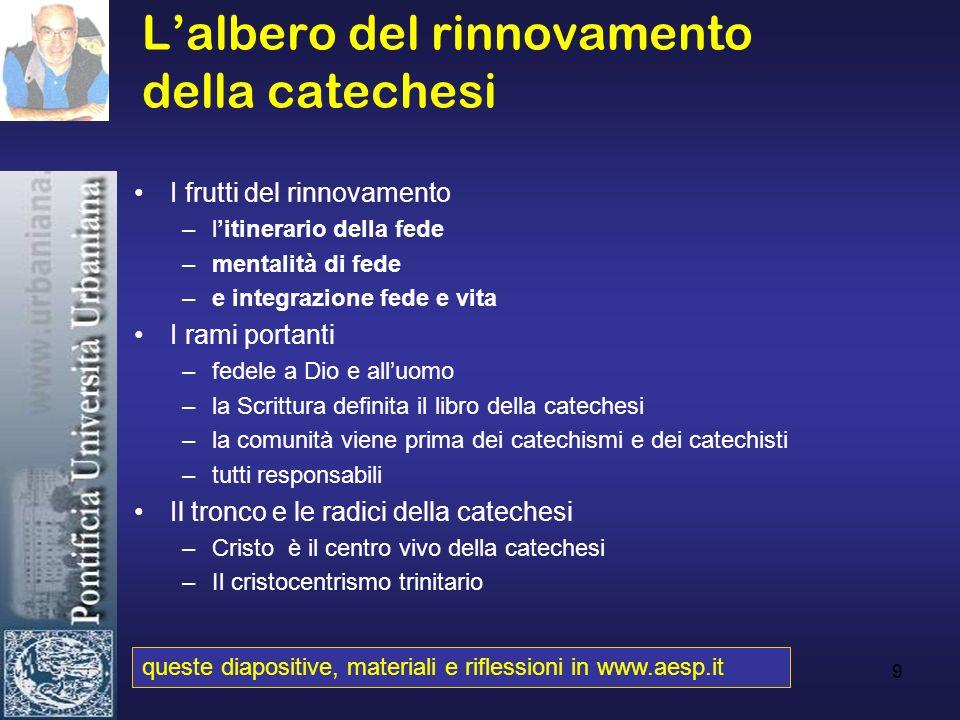 9 Lalbero del rinnovamento della catechesi I frutti del rinnovamento –litinerario della fede –mentalità di fede –e integrazione fede e vita I rami por