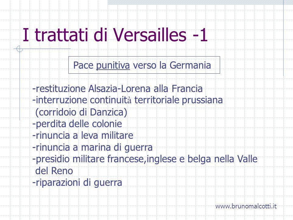 I trattati di Versailles -1 -restituzione Alsazia-Lorena alla Francia -interruzione continuit à territoriale prussiana (corridoio di Danzica) -perdita