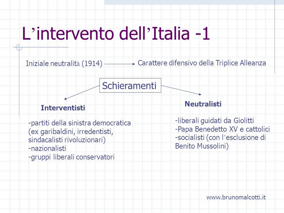 L intervento dell Italia -1 Iniziale neutralit à (1914) Carattere difensivo della Triplice Alleanza Schieramenti Interventisti Neutralisti -partiti de