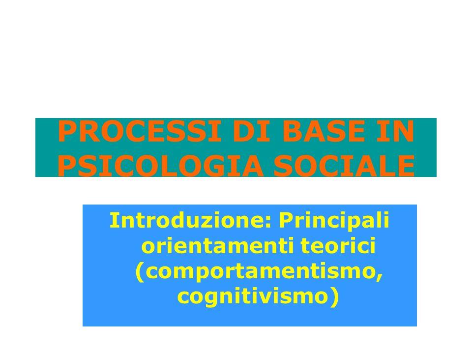 PROCESSI DI BASE IN PSICOLOGIA SOCIALE Introduzione: Principali orientamenti teorici (comportamentismo, cognitivismo)