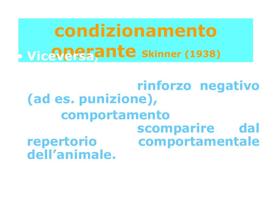 condizionamento operante Skinner (1938) Viceversa, se il comportamento fosse seguito da un rinforzo negativo (ad es. punizione), il comportamento dovr