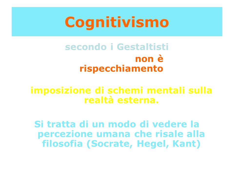 Cognitivismo secondo i Gestaltisti il processo percettivo non è un mero rispecchiamento ma piuttosto un processo costruttivo di imposizione di schemi