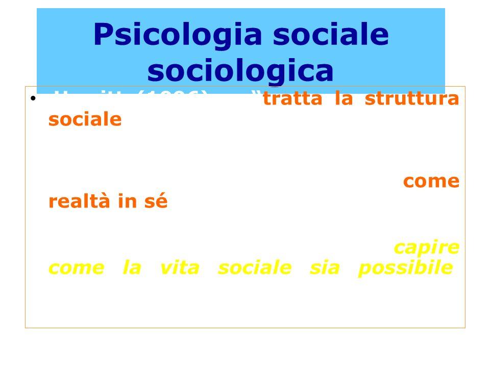 Psicologia sociale sociologica Hewitt (1996): tratta la struttura sociale, la cultura, i ruoli, i gruppi, le organizzazioni e i comportamenti colletti