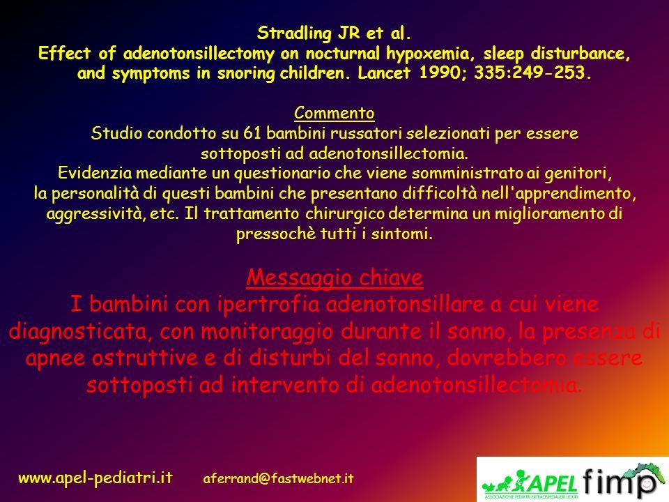 www.apel-pediatri.it aferrand@fastwebnet.it Stradling JR et al. Effect of adenotonsillectomy on nocturnal hypoxemia, sleep disturbance, and symptoms i