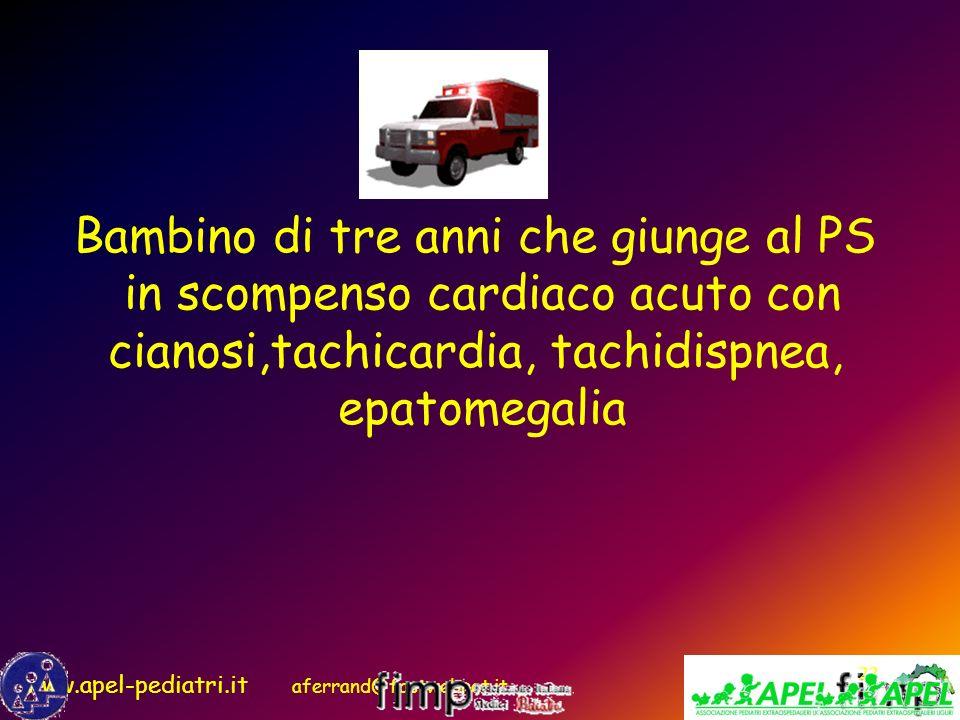 www.apel-pediatri.it aferrand@fastwebnet.it 22 Bambino di tre anni che giunge al PS in scompenso cardiaco acuto con cianosi,tachicardia, tachidispnea,