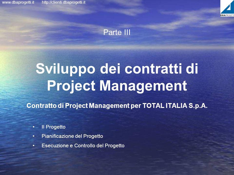 www.dbaprogetti.ithttp://clienti.dbaprogetti.it Sviluppo dei contratti di Project Management Contratto di Project Management per TOTAL ITALIA S.p.A. P
