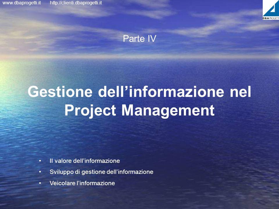 www.dbaprogetti.ithttp://clienti.dbaprogetti.it Gestione dellinformazione nel Project Management Parte IV Il valore dellinformazione Sviluppo di gesti
