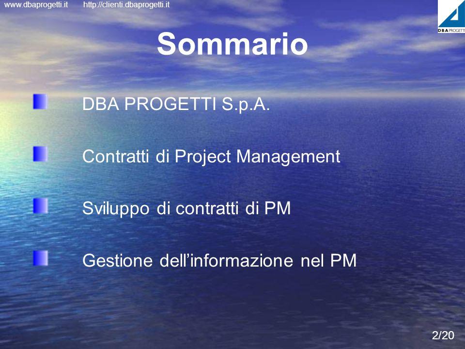 www.dbaprogetti.ithttp://clienti.dbaprogetti.it Sommario DBA PROGETTI S.p.A. Contratti di Project Management Sviluppo di contratti di PM Gestione dell