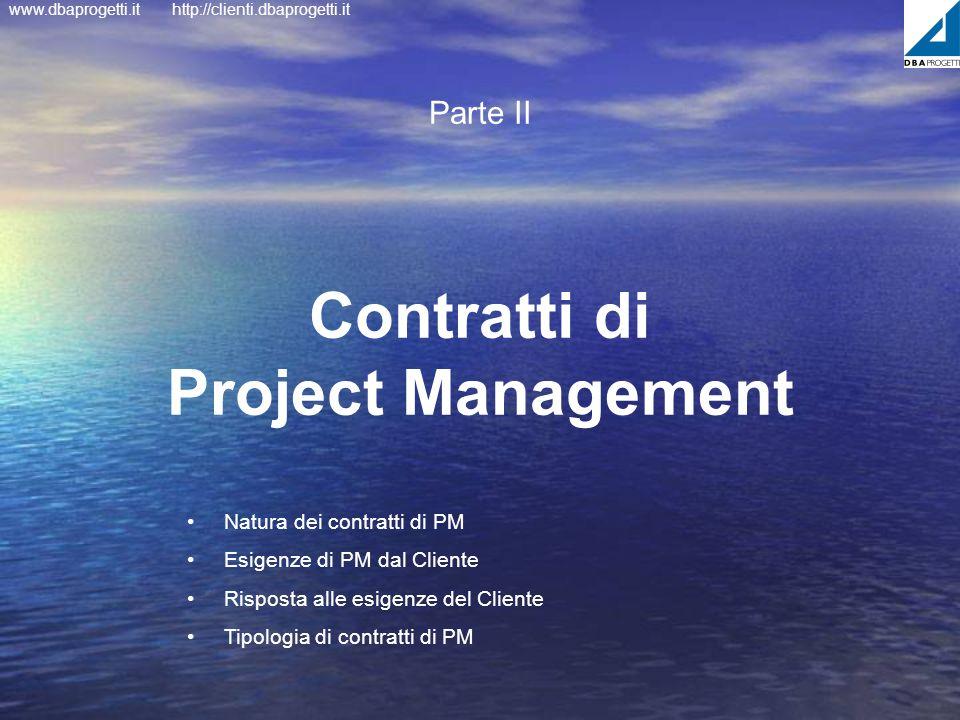 www.dbaprogetti.ithttp://clienti.dbaprogetti.it Contratti di Project Management Parte II Natura dei contratti di PM Esigenze di PM dal Cliente Rispost