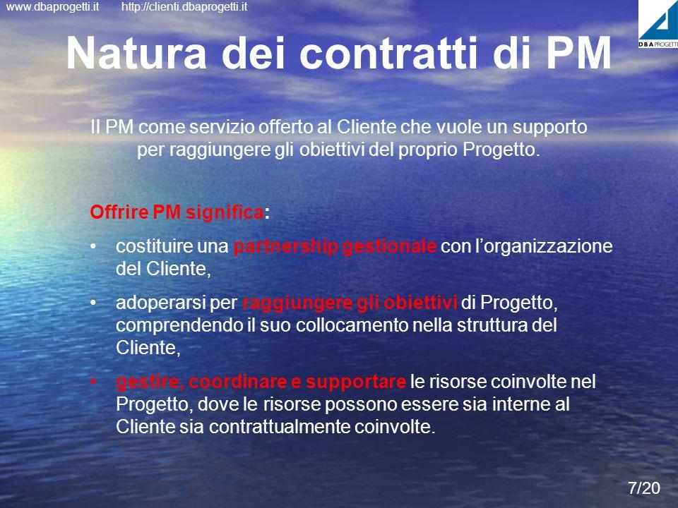 www.dbaprogetti.ithttp://clienti.dbaprogetti.it Natura dei contratti di PM 7/20 Il PM come servizio offerto al Cliente che vuole un supporto per raggi
