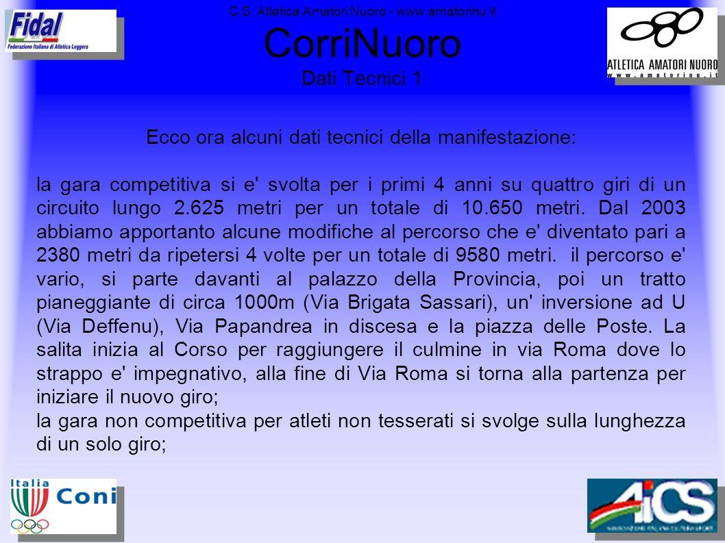 C.S. Atletica Amatori Nuoro - www.amatorinu.it CorriNuoro Dati Tecnici 1 Ecco ora alcuni dati tecnici della manifestazione: la gara competitiva si e'