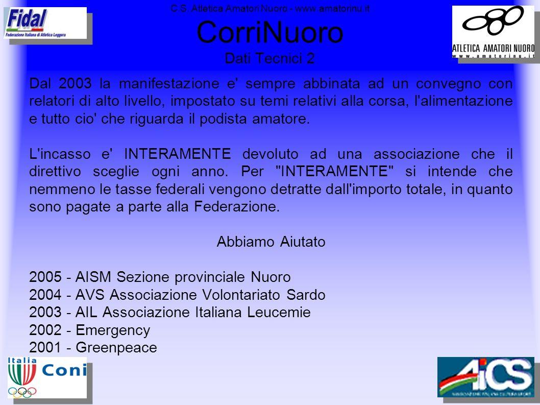 C.S. Atletica Amatori Nuoro - www.amatorinu.it CorriNuoro Dati Tecnici 2 Dal 2003 la manifestazione e' sempre abbinata ad un convegno con relatori di