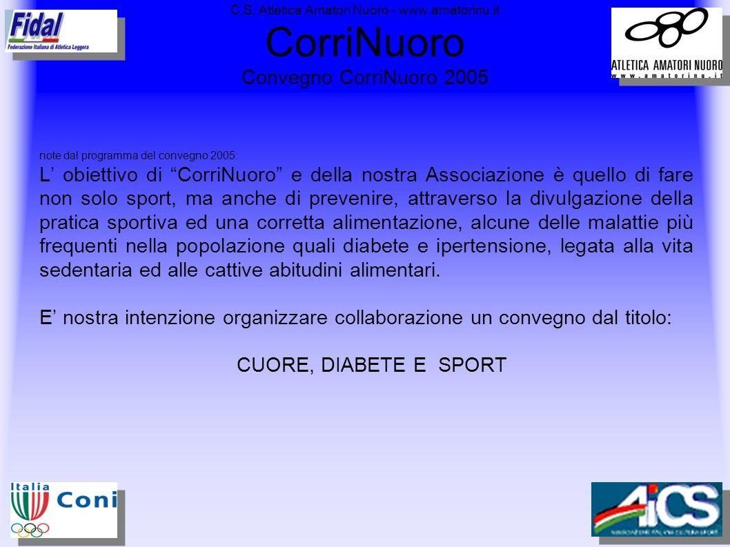 C.S. Atletica Amatori Nuoro - www.amatorinu.it CorriNuoro Convegno CorriNuoro 2005 note dal programma del convegno 2005: L obiettivo di CorriNuoro e d