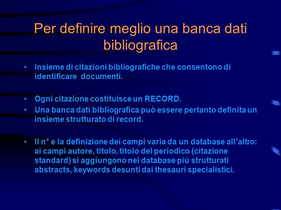 Che cosa intendiamo quindi per banca dati bibliografica on line Intendiamo un archivio digitale, di tipo testuale, spesso accessibile a pagamento, le