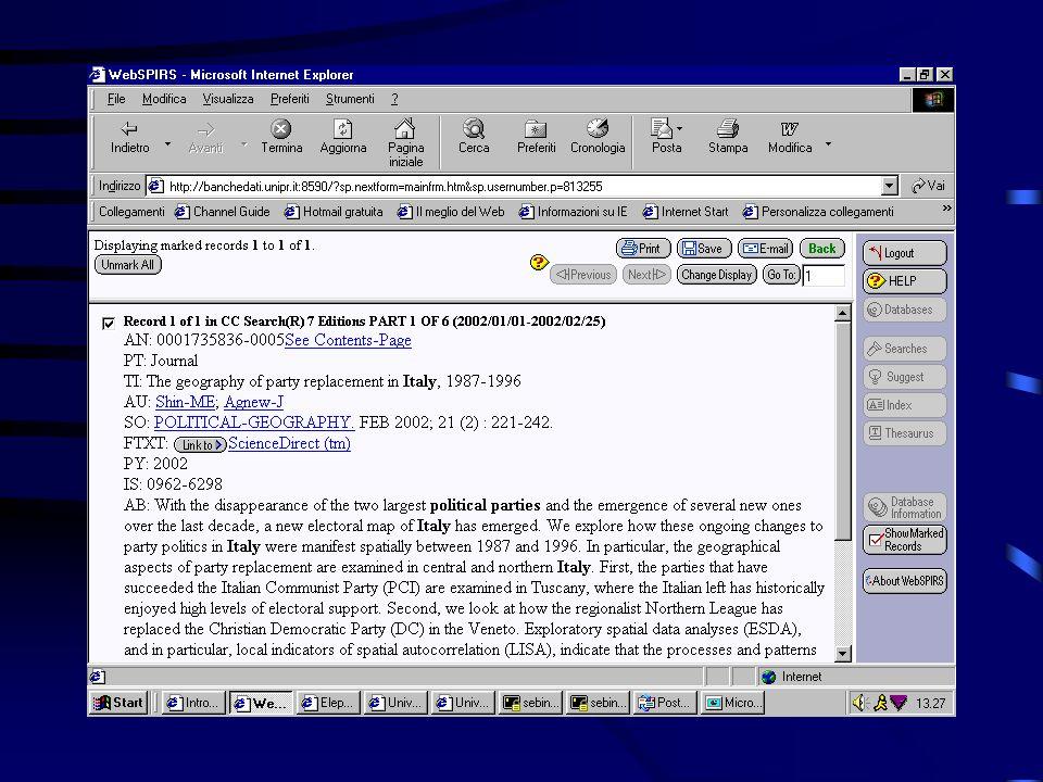Interrogazione delle banche dati mediante il software WebSPIRSWebSPIRS