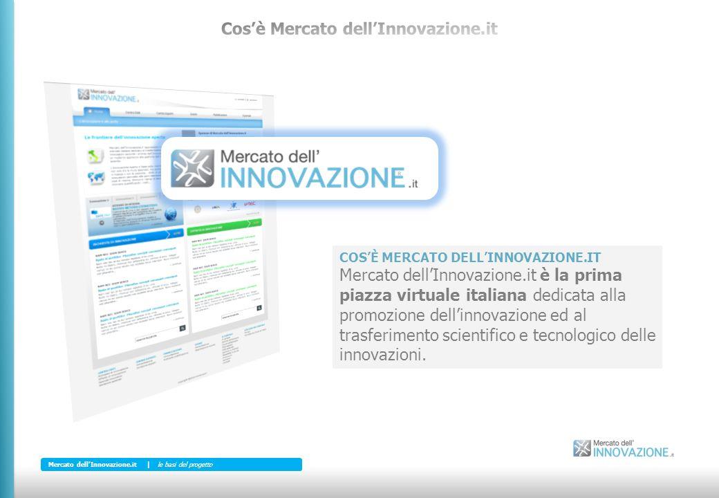 COSÈ MERCATO DELLINNOVAZIONE.IT Mercato dellInnovazione.it è la prima piazza virtuale italiana dedicata alla promozione dellinnovazione ed al trasferimento scientifico e tecnologico delle innovazioni.