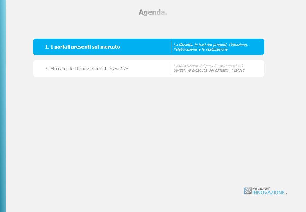 1. I portali presenti sul mercato La filosofia, le basi dei progetti, lideazione, lelaborazione e la realizzazione 2. Mercato dellInnovazione.it: il p