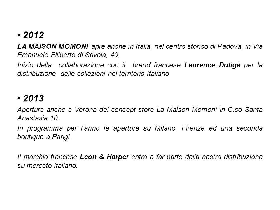 2012 LA MAISON MOMONI apre anche in Italia, nel centro storico di Padova, in Via Emanuele Filiberto di Savoia, 40. Inizio della collaborazione con il