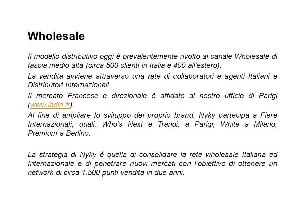 Il modello distributivo oggi è prevalentemente rivolto al canale Wholesale di fascia medio alta (circa 500 clienti in Italia e 400 allestero). La vend