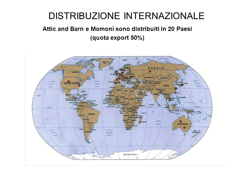 Attic and Barn e Momonì sono distribuiti in 20 Paesi (quota export 50%) DISTRIBUZIONE INTERNAZIONALE