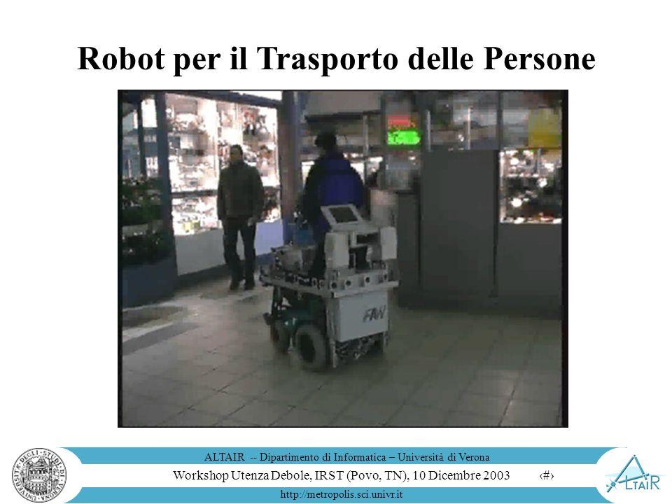 Workshop Utenza Debole, IRST (Povo, TN), 10 Dicembre 2003 ALTAIR -- Dipartimento di Informatica – Università di Verona http://metropolis.sci.univr.it 12 Robot per la Pulizia La gara di pulizia robotica