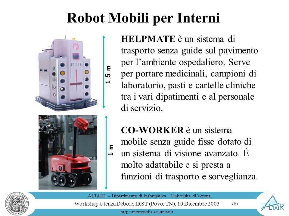 Workshop Utenza Debole, IRST (Povo, TN), 10 Dicembre 2003 ALTAIR -- Dipartimento di Informatica – Università di Verona http://metropolis.sci.univr.it 16 Cosa Promette il Futuro