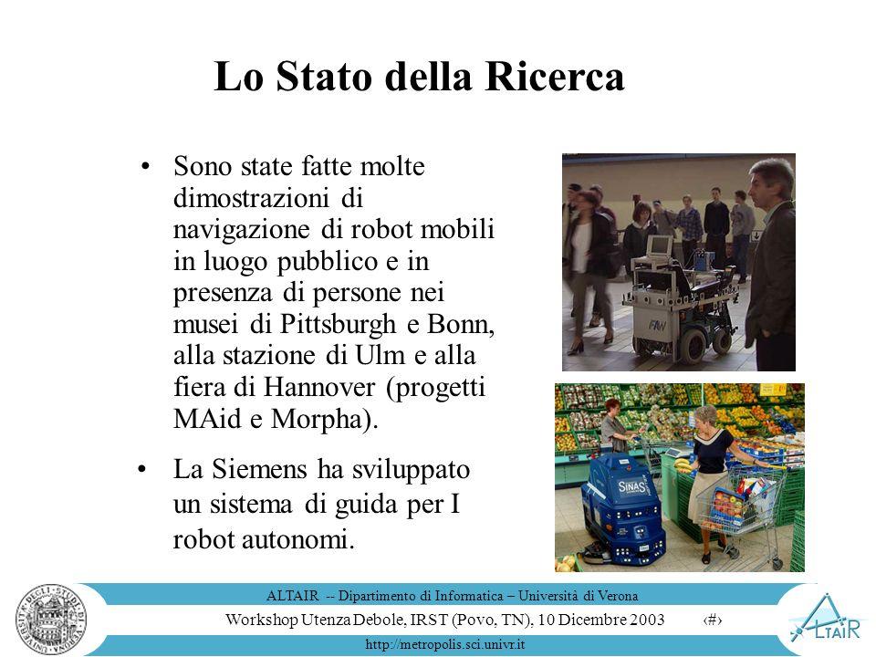 Workshop Utenza Debole, IRST (Povo, TN), 10 Dicembre 2003 ALTAIR -- Dipartimento di Informatica – Università di Verona http://metropolis.sci.univr.it 8 Robot per lesplorazione
