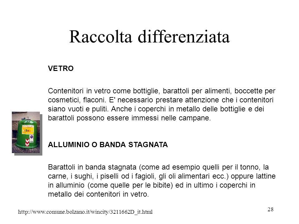 28 Raccolta differenziata http://www.comune.bolzano.it/wincity/3211662D_it.html VETRO Contenitori in vetro come bottiglie, barattoli per alimenti, boc