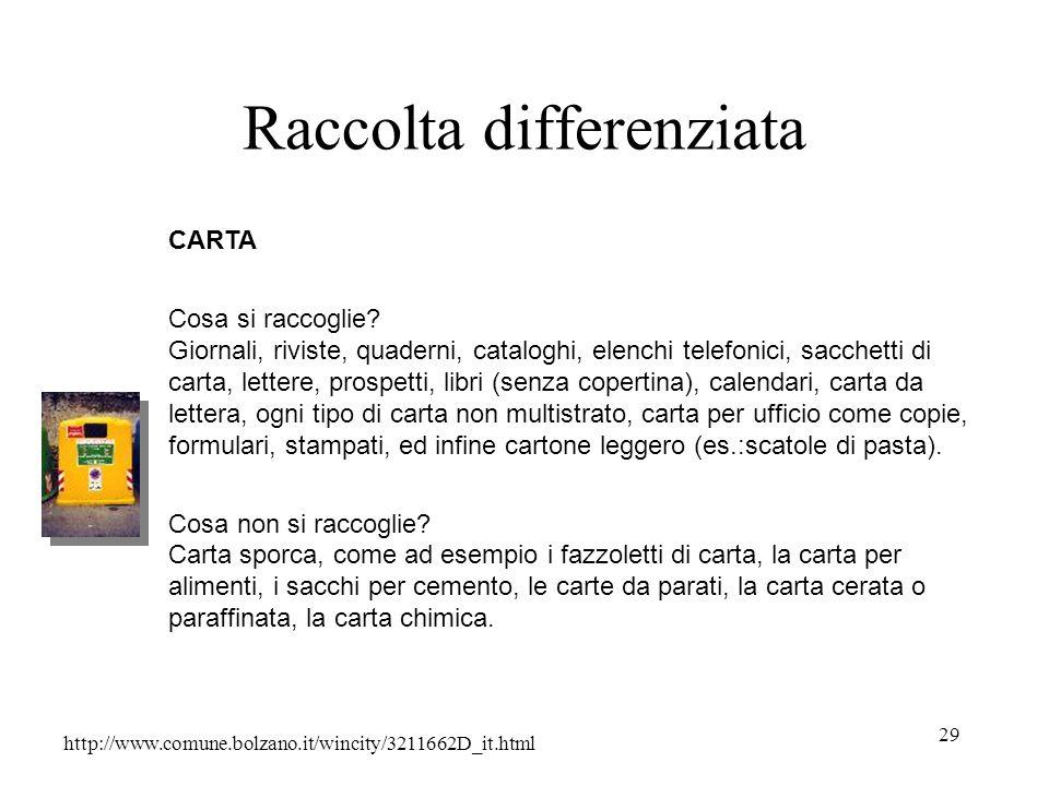 29 Raccolta differenziata http://www.comune.bolzano.it/wincity/3211662D_it.html CARTA Cosa si raccoglie? Giornali, riviste, quaderni, cataloghi, elenc