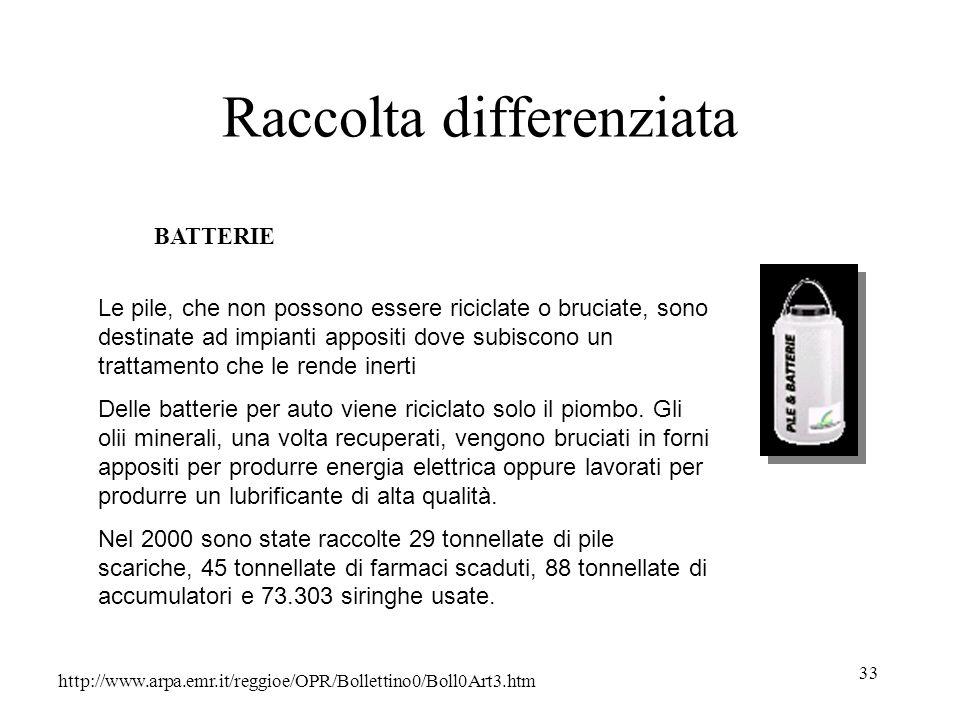 33 Raccolta differenziata http://www.arpa.emr.it/reggioe/OPR/Bollettino0/Boll0Art3.htm BATTERIE Le pile, che non possono essere riciclate o bruciate,