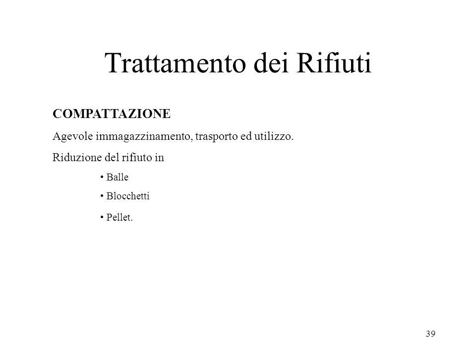 39 Trattamento dei Rifiuti COMPATTAZIONE Agevole immagazzinamento, trasporto ed utilizzo. Riduzione del rifiuto in Balle Blocchetti Pellet.