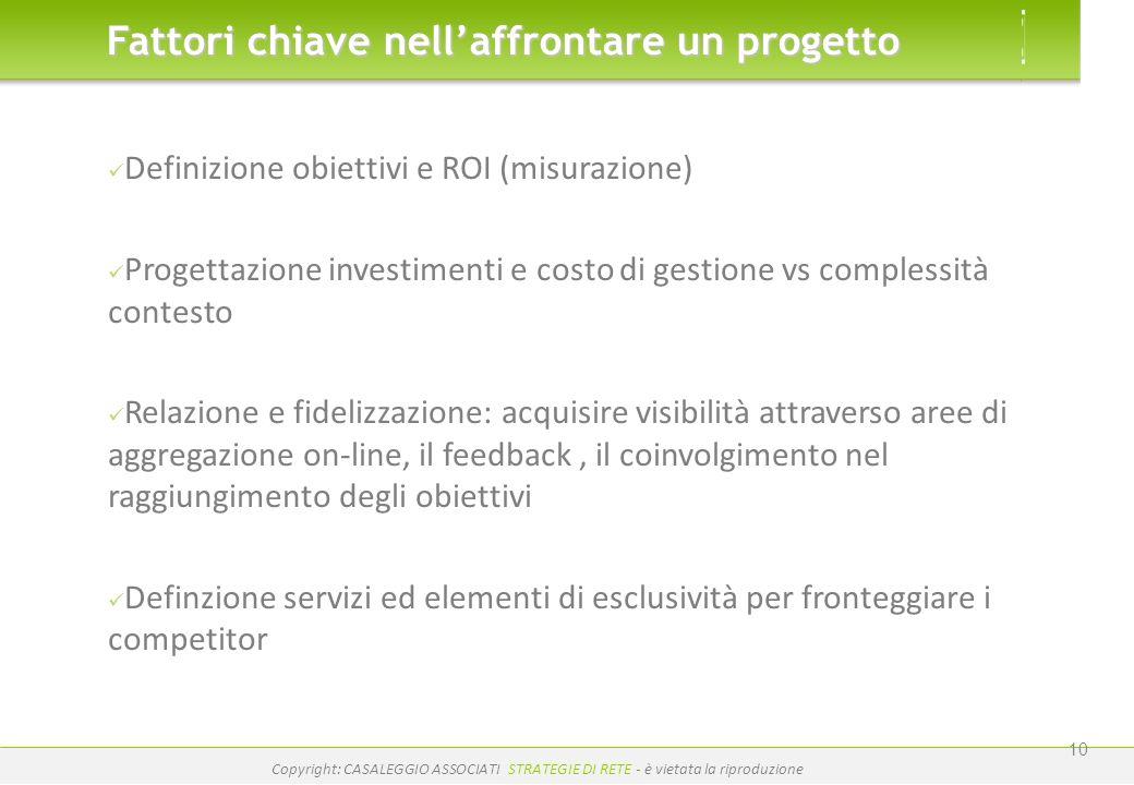 www.casaleggio.it Copyright: CASALEGGIO ASSOCIATI STRATEGIE DI RETE - è vietata la riproduzione 10 Definizione obiettivi e ROI (misurazione) Progettaz