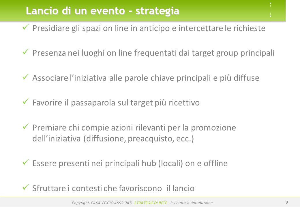 www.casaleggio.it Copyright: CASALEGGIO ASSOCIATI STRATEGIE DI RETE - è vietata la riproduzione 9 Lancio di un evento - strategia Presidiare gli spazi