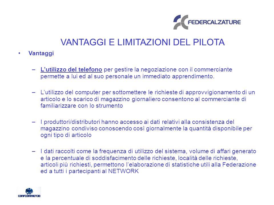 VANTAGGI E LIMITAZIONI DEL PILOTA Vantaggi –Lutilizzo del telefono per gestire la negoziazione con il commerciante permette a lui ed al suo personale un immediato apprendimento.