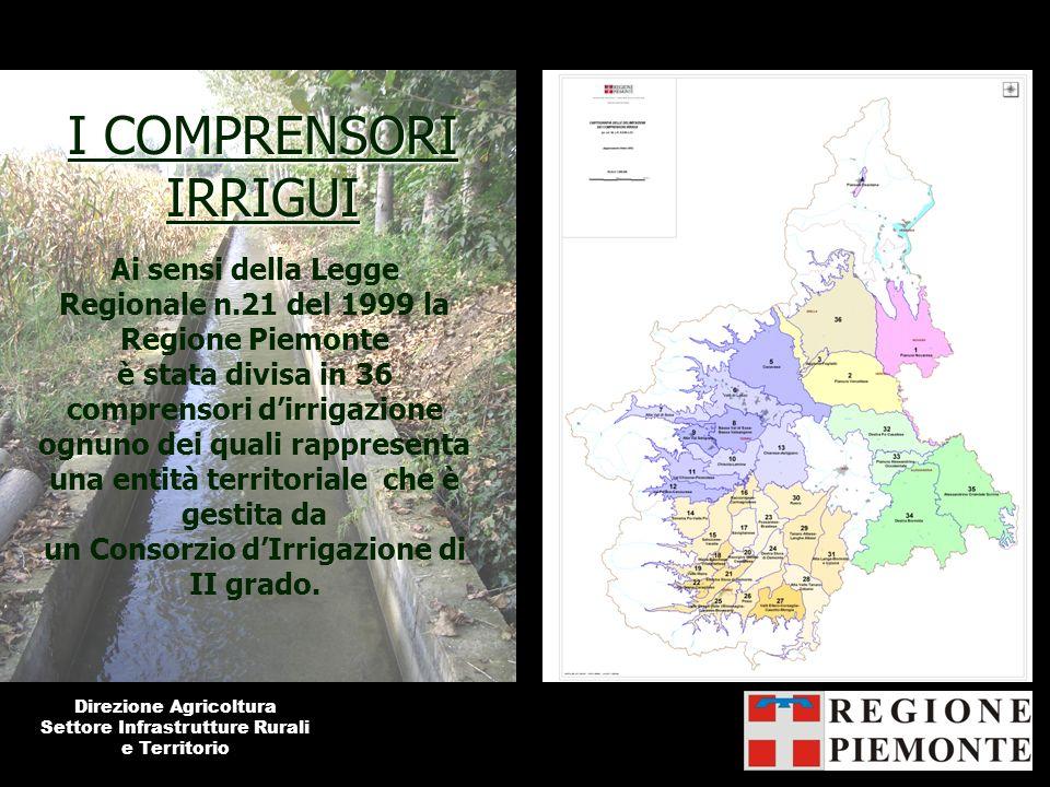 I COMPRENSORI IRRIGUI Ai sensi della Legge Regionale n.21 del 1999 la Regione Piemonte è stata divisa in 36 comprensori dirrigazione ognuno dei quali
