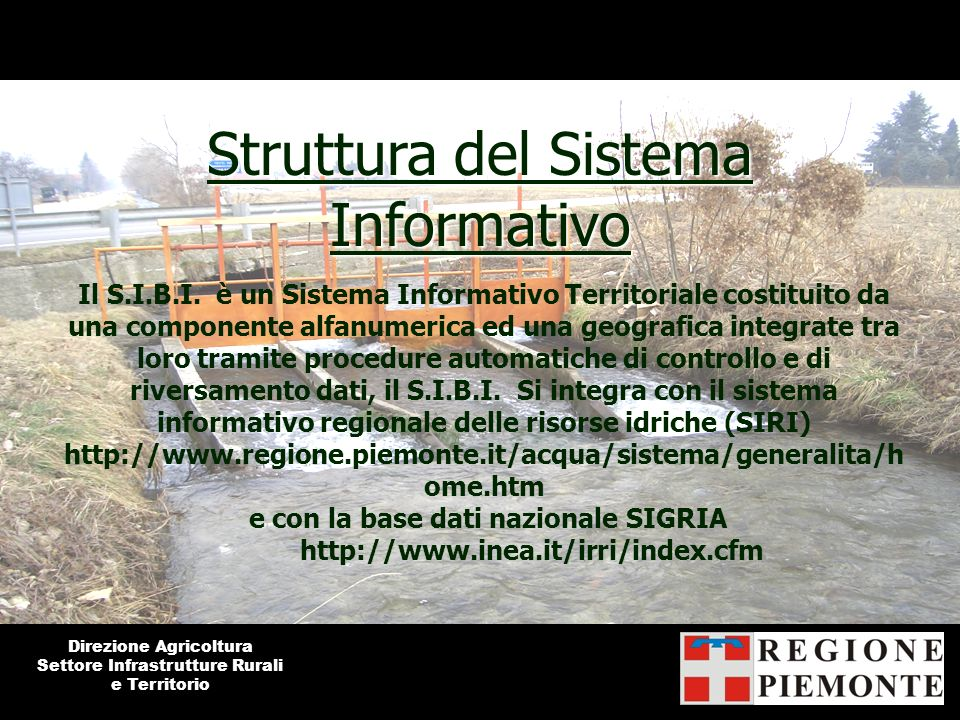 Struttura del Sistema Informativo Il S.I.B.I. è un Sistema Informativo Territoriale costituito da una componente alfanumerica ed una geografica integr