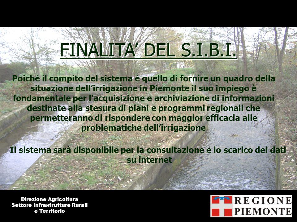FINALITA DEL S.I.B.I. Poiché il compito del sistema è quello di fornire un quadro della situazione dellirrigazione in Piemonte il suo impiego è fondam