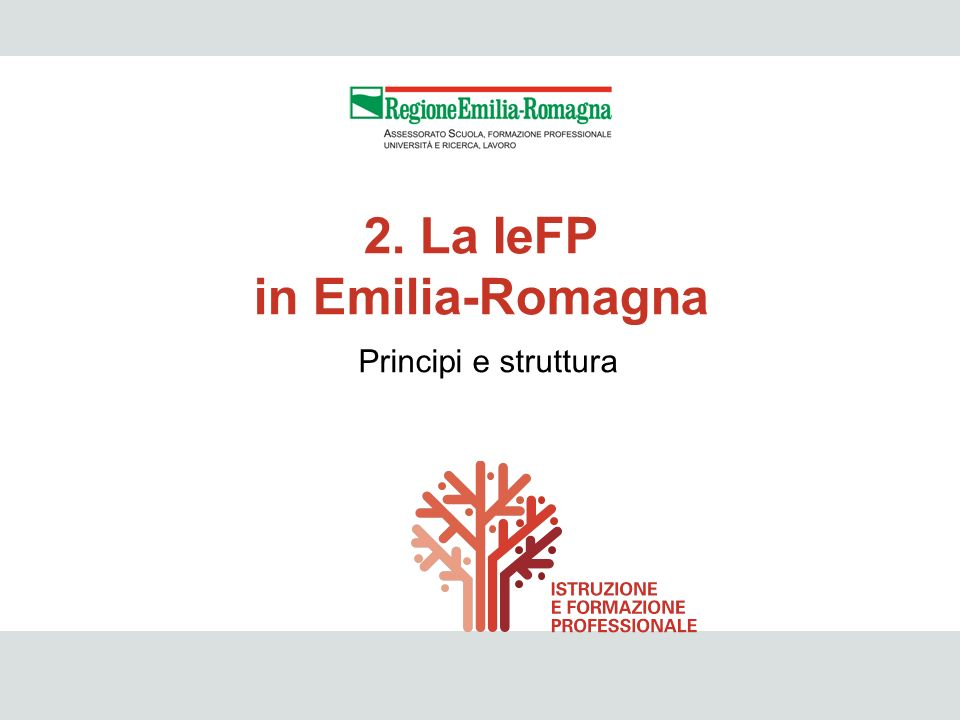 IeFP 11 Principi e struttura 2. La IeFP in Emilia-Romagna