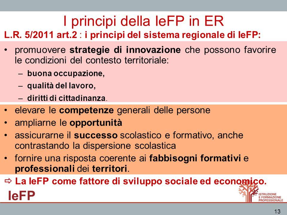 IeFP 13 I principi della IeFP in ER L.R. 5/2011 art.2 : i principi del sistema regionale di IeFP: promuovere strategie di innovazione che possono favo